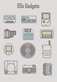 90s gadgets. Set of classic icon, hipster gadget,old gadget vector Royalty Free Illustration