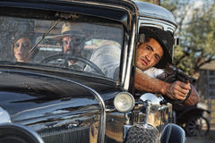 1920s Gangster Drive By Shooting Royalty Free Stock Photography