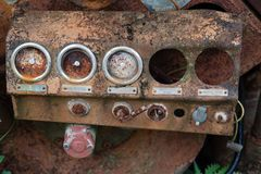 Rusty gauge pressure on machine royalty free stock photo