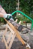 S?gendes Brennholz manuell mit einer Metalls?ge auf einem h?lzernen S?gebock stockfotografie