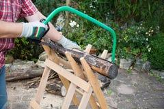 S?gendes Brennholz manuell mit einer Metalls?ge auf einem h?lzernen S?gebock lizenzfreies stockbild