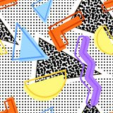 80s geometric pattern. Seamless pattern of geometric shapes, a triangle with noise, color lines and a shadow, against a background of dots in the style of the royalty free illustration