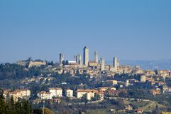 S.Gimignano, Italy. View of S.Gimignino and it's many towers from opposite hill,pics froma a Tuscany trip stock image