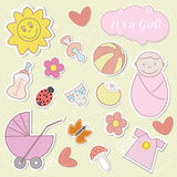 It's a Girl!. Collection of colorful baby's stickers. Please visit my portfolio for boy's stickers Stock Image