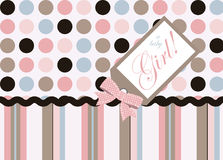 It's a Girl!. Seamless dot and stripe coordinate pattern with bow and tag Stock Images