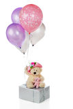 It's a Girl. A mama and baby bear on a silver-wrapped gift holding colorful balloons, one of which says, It's a girl.  Isolated on white Royalty Free Stock Photos