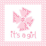 It's a girl. Card coloured in pink Royalty Free Stock Photo