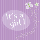 It's a Girl!. Wallpaper purple with butterflies flying Royalty Free Stock Photo