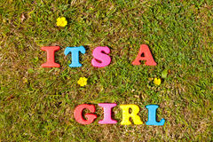 It's a Girl. Alphabet letters on grass background spelling the words It's a Girl Royalty Free Stock Photos