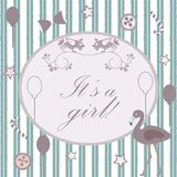 It`s Girl announcement. Congratulations greeting Template Stock Image