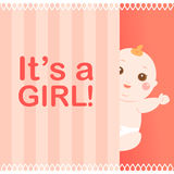It's a girl baby card Stock Photography