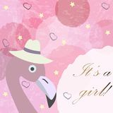 It`s a girl. Baby Girl Birth announcement card, label, greeting,. Congratulation.Cute Bird announces arrival of baby girl. Pink Background with blue bubbles and Stock Image