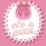 It`s a girl baby shower on bib Royalty Free Stock Images