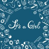 It s a girl. Baby shower. Birth announcement. Royalty Free Stock Photos