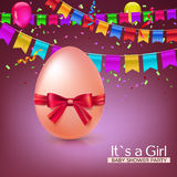 It s a girl baby shower concept with red ribbon bow and egg. Vector illustration. Party invitation template, carnival Stock Images
