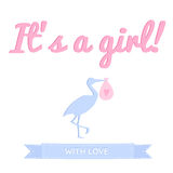 It`s a girl baby shower. Greeting card with stork. Stylish and minimal Stock Photos