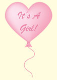 It's A Girl Balloon. Baby pink It's a girl balloon on a pastel yellow background Stock Photo