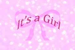 It`s a girl, birth announcement with pink ribbon and sparkle pink background. It`s a girl, birth announcement for baby girl. Celebrate gender reveal, birth Stock Photo