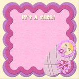 It's a girl! birthday felt greeting card Stock Photography