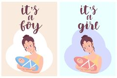 It`s a girl, it`s a boy greeting card. Vector invitation with woman holding cute kids. Baby arrival and shower collection with royalty free illustration
