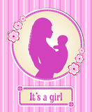 It's a girl. card with a newborn baby, the silhouette of a mother and child, congratulations on the birth of a vector Stock Image