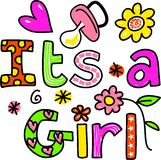 It's a Girl Cartoon Text Clipart Stock Image