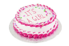 It's a girl festive cake. It's a girl frosted  festive cake celebrating a birth Royalty Free Stock Image