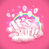 'It's a Girl' greeting card with balloons, clouds and rainbow. Vector illustration, eps10. Stock Photos