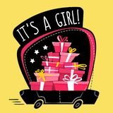 It`s a girl greeting post card or sticker , cartoon wrong perspective minimal flat style. running car full of presents , gifts sta vector illustration