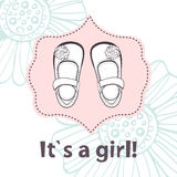 It s a girl. Lovely baby shower card with cute Stock Photo