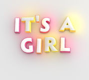It's a Girl. New baby greeting card Stock Photos