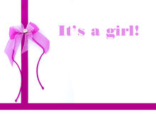 It's a girl - New born card. Announcement card: it's a girl. With Stock Image