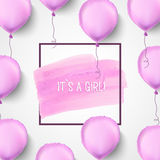 It s a girl. Pink balloons. Vector illustration. Pink helium balloons with frame and brush stroke. Celebration Stock Image