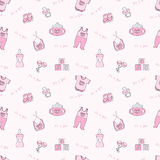 It's a girl - pink seamless background. Seamless background with baby elements Stock Images