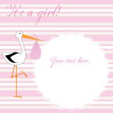 It's a girl! - pink stripes. Baby girl arrival announcement card Royalty Free Stock Photo