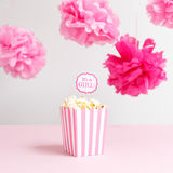 It`s a girl sign in a popcorn bag at the baby shower party.  Bab Royalty Free Stock Images