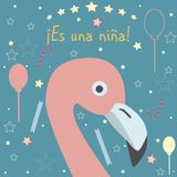 It`s a girl in Spanish Language. `Es una nina` means `It`s a girl` in Spanish Language. Baby Girl Birth announcement. Cute Bird announces the arrival of a baby Stock Image