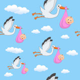 It's a Girl Stork Flying Seamless Pattern Royalty Free Stock Images