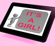 It's A Girl Tablet Means Announcing Female Baby Stock Photography