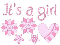 It's a girl - text, flowers and heart Stock Photos