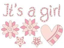 It's a Girl - text, flowers, heart and stars Stock Image