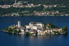 S. Giulio island, lake of Orta, Italy royalty free stock images
