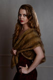1940s glamour portrait wearing fur wrap Royalty Free Stock Photography