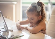 She`s going to be great artist one day stock photography