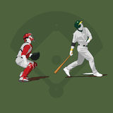 It's gone. Vector illustration of a batter after just hitting a home run and the catcher watching it go. Additional file format is illustrator cs3 .ai Vector Illustration