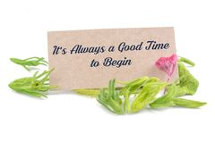 It`s always a good time to begin. Text on card with dried flower isolated on white background royalty free stock photos