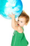She's got the whole world in her hands Stock Photography