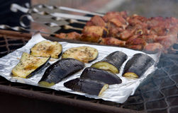 S on a grill. Eggplants and meat on a grill Stock Photos