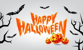 It`s a Happy Halloween Party time with Scary Pumpkins and Flying Bats. Vector vector illustration
