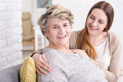 She's always happy when her granddaughter pays a visit Stock Photography